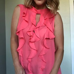 PARKER Pink Ruffled Blouse